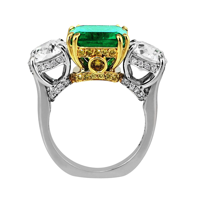 4ct Colombian Emerald Diamond Ring, AGL-certified