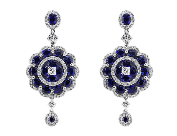 Sapphire and Diamond Floral Drop Earrings