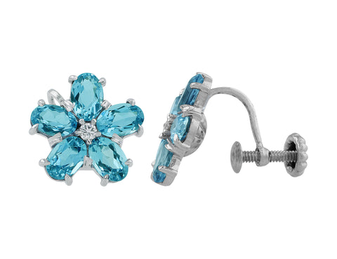 Estate 14k White Gold Aquamarine Diamond Florette Earrings