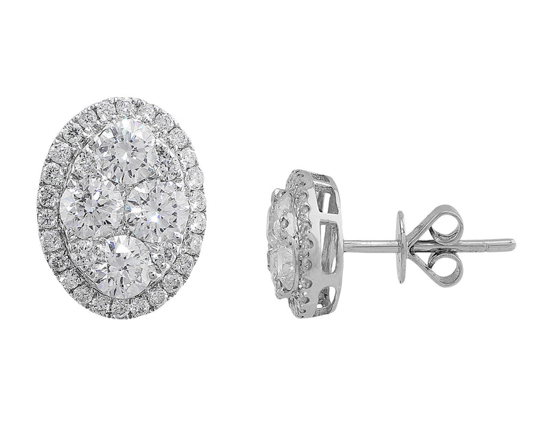 Oval Pave Diamond Earrings
