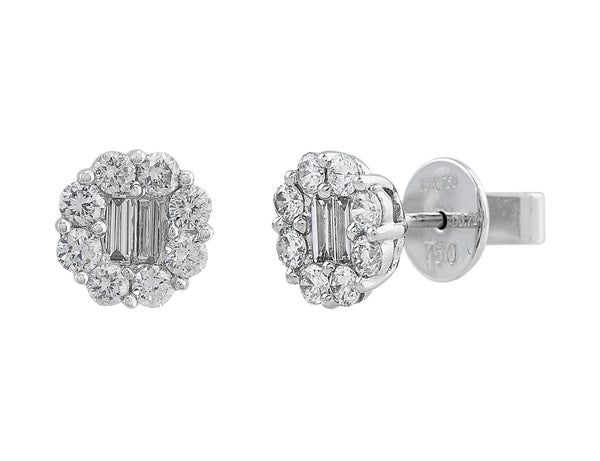 Baguette Diamond Earrings in 18k white gold