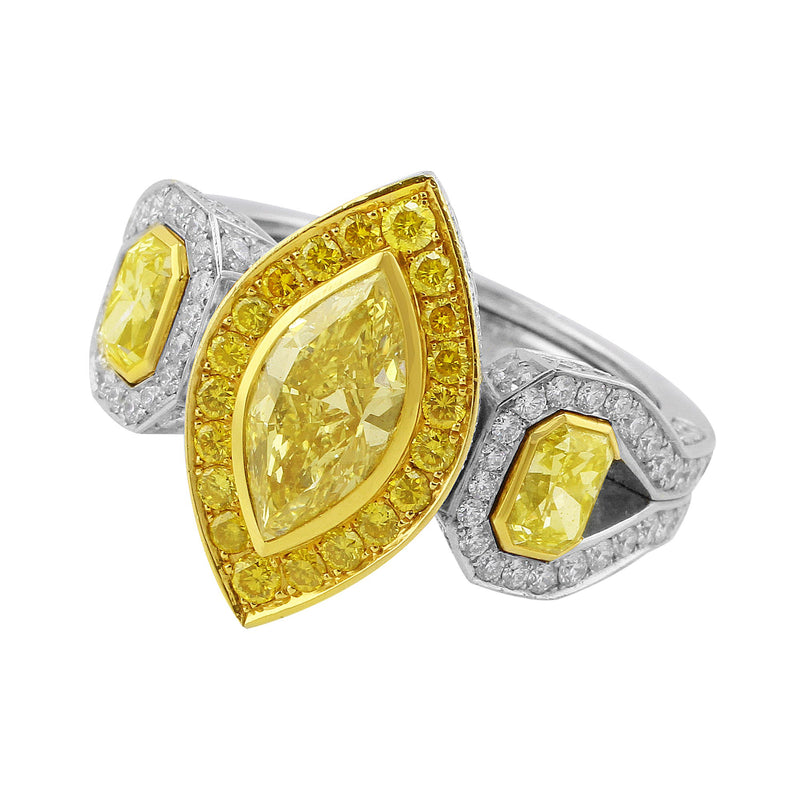 Fancy Yellow Marquise and Pave Diamond Ring