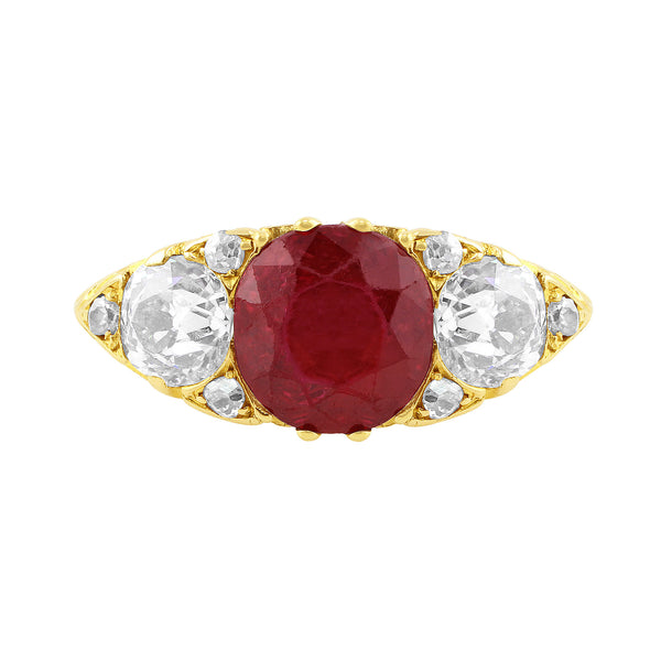 Antique 2ct Thai No-heat Ruby Ring