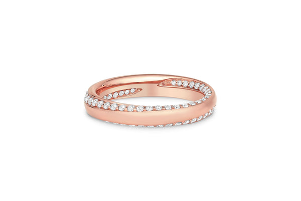 18KT Rose Gold Diamond Inside Out Spiral Band