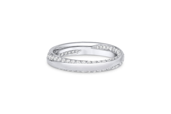 18KT White Gold Diamond Inside Out Spiral Band