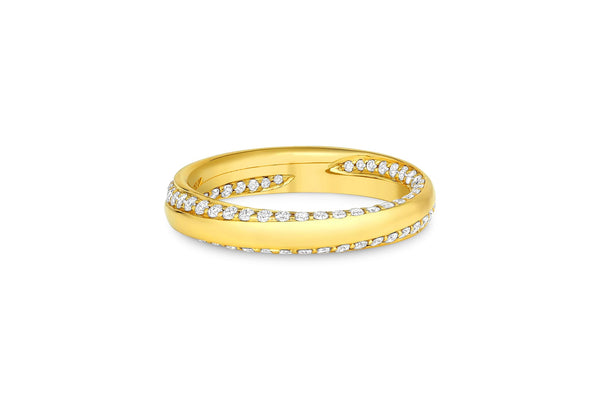18KT Yellow Gold Diamond Inside Out Spiral Band