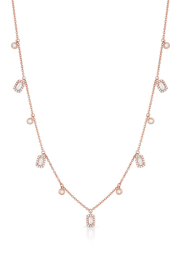 18KT ROSE GOLD ROUND AND RECTANGULAR DIAMOND DANGLES NECKLACE