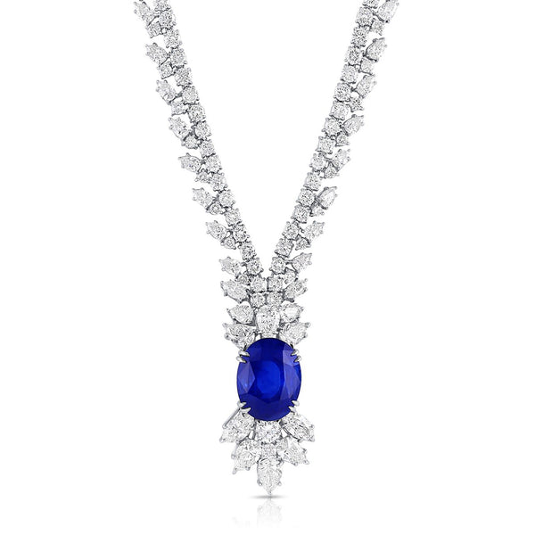 14.08 ct Ceylon Sapphire Diamond Necklace, AGL Report