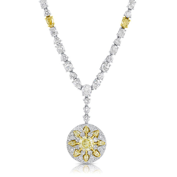 Rivière Platinum 18K Gold Fancy Yellow Diamond Sunburst, GIA Certified