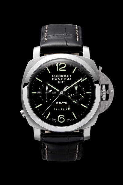 Panerai Luminor 1950 Chrono Monopulsante 8 Days GMT 44mm Steel Watch PAM00275