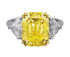 7ct Fancy Intense Yellow Asscher Cut Diamond Ring