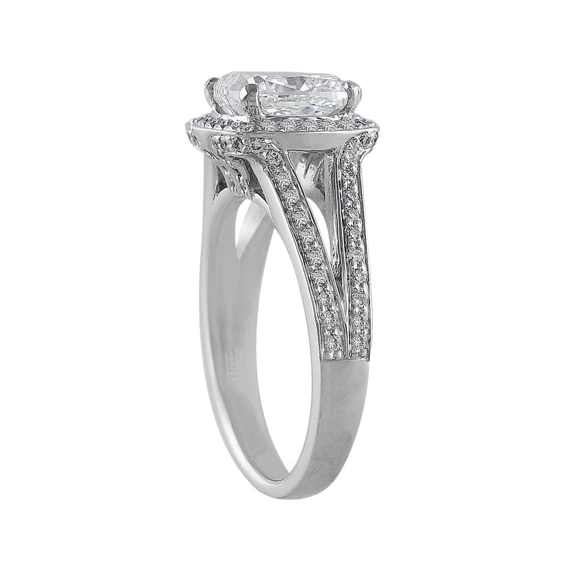 2ct Cushion Cut Riviera Diamond Ring, center diamond GIA-certified