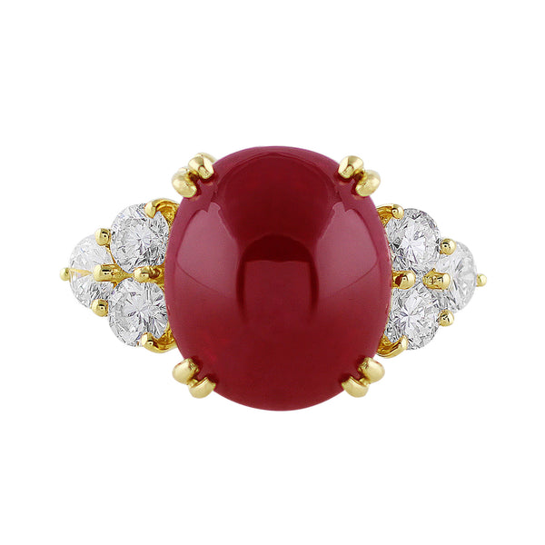 15.05ct Cabochon Burmese Ruby Ring
