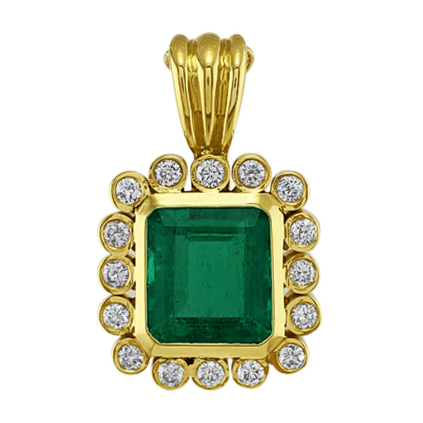 Estate Emerald Diamond Pendant