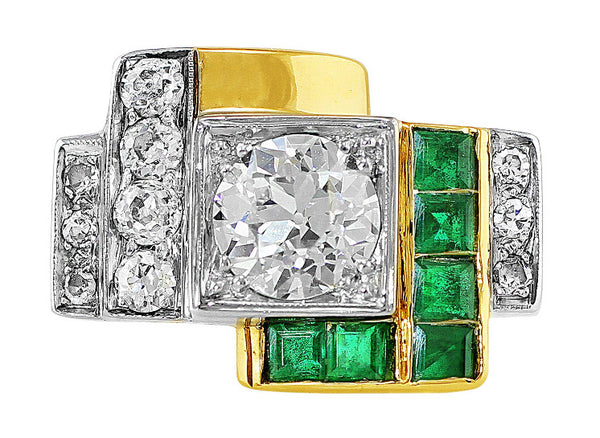 Estate Art Deco Diamond Emerald Ring