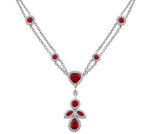 Diamond Ruby Pendant Necklace
