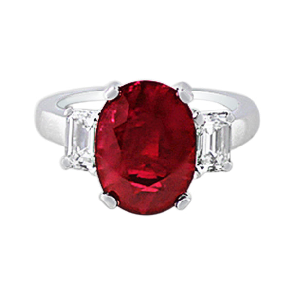 5ct Burmese Ruby Platinum Ring