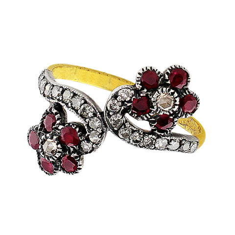 1890's Antique Flower Diamond Ruby Ring