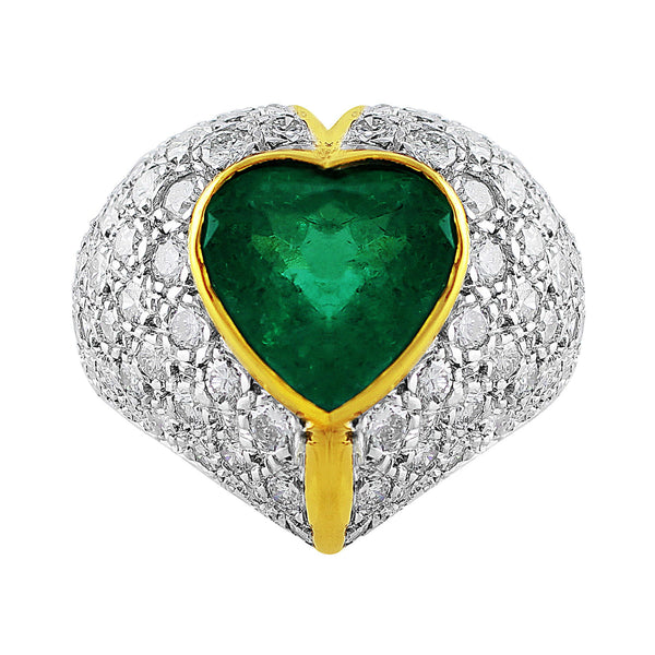 Estate 4ct Emerald Diamond Heart Ring