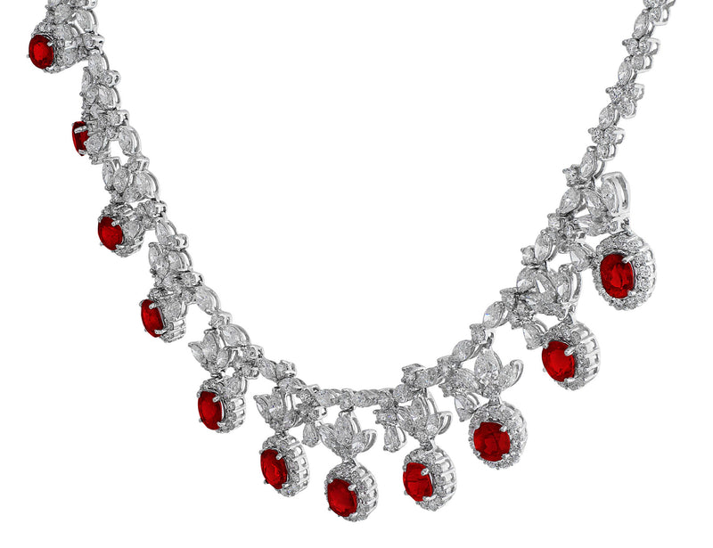 Burmese Ruby Diamond Necklace and Earring Set