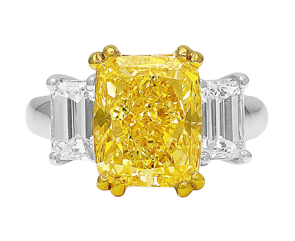 GIA-certified 6ct Fancy Intense Yellow Diamond Ring