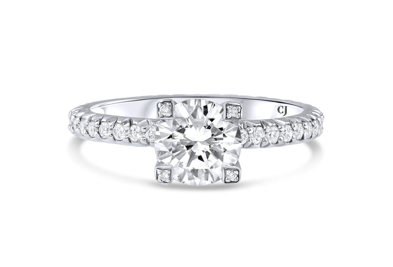 18KT White Gold Round Brilliant Diamond Ring, GIA Certified