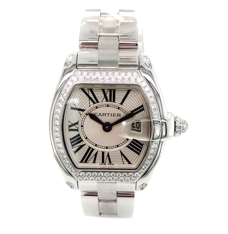 Cartier Roadster Small 18KT WG Factory Diamonds WE5002X2 - Certified Pre-Owned
