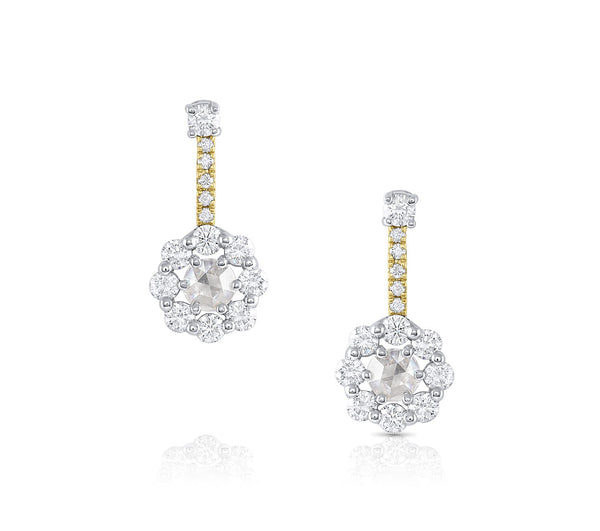 18k White and Rose Gold Diamond Flower Earrings