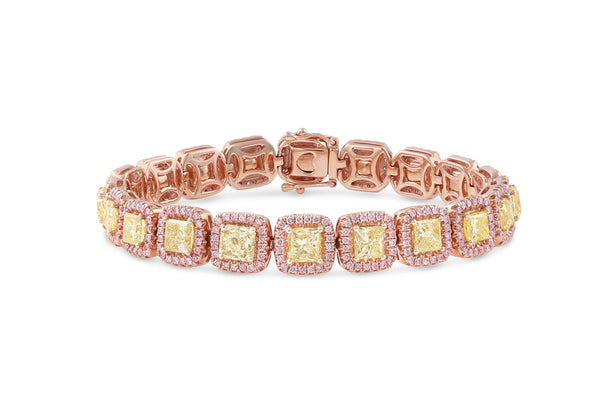 Pink and Yellow Diamond Rose Gold Bracelet