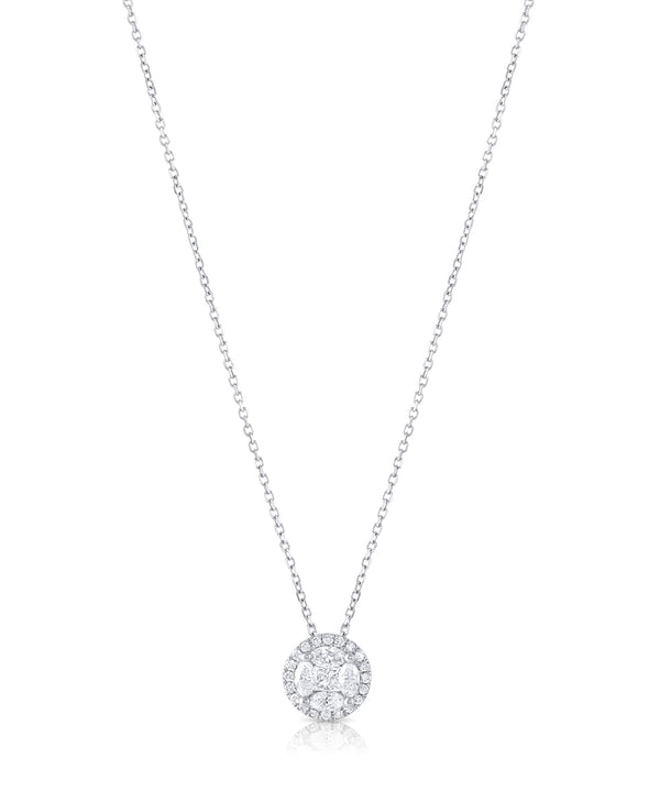 18k White Gold Diamond Round Necklace