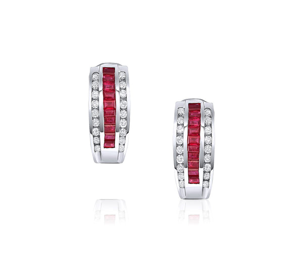 Ruby Diamond Invisible Baguette Earrings