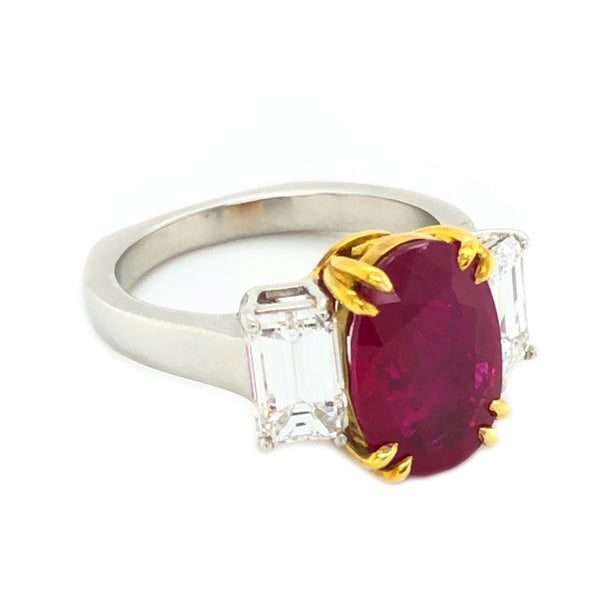 "4.13ct Burma ""Pigeon Blood"" Ruby Ring GIA Certified"