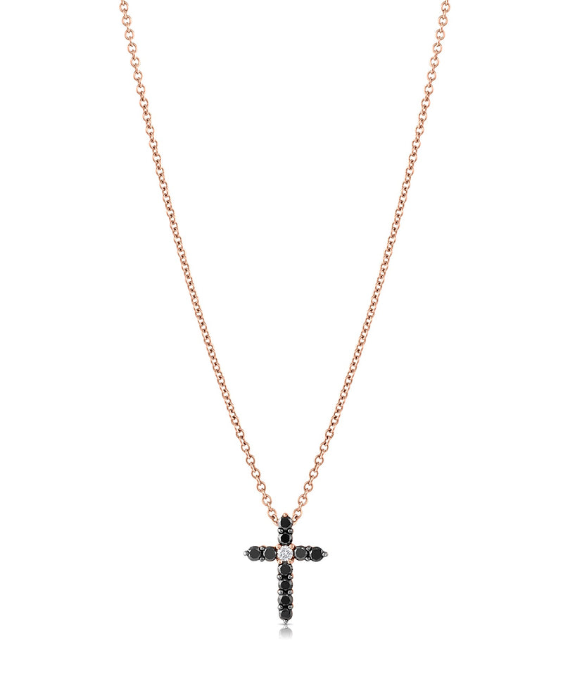 18kt Rose Gold Salavetti Contemporary Cross Necklave