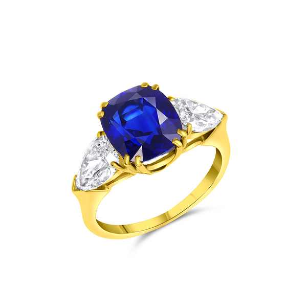 5CT NATURAL UNHEATED SAPPHIRE DIAMOND RING