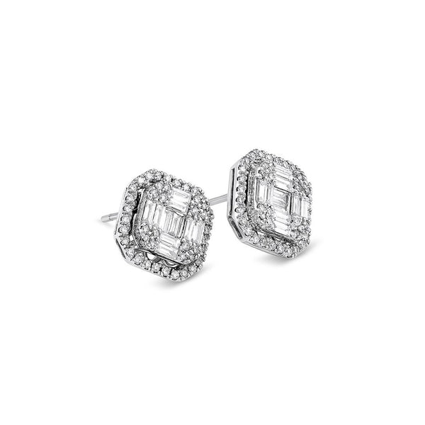 Large Modern Diamond Square Motif Studs
