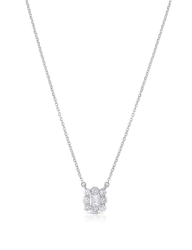 18k White Gold Diamond Square Pendant Necklace