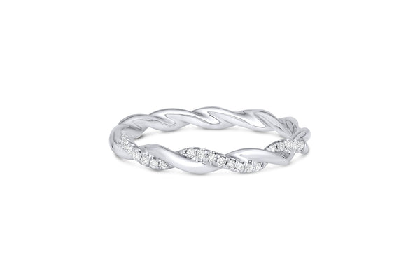 18KT White Gold Twisted Halfway Diamond Band