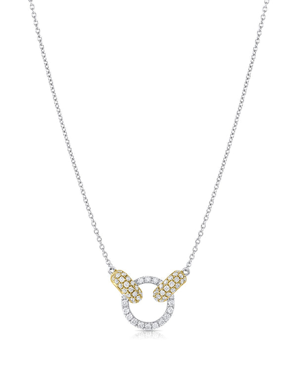 18k White And Yellow Gold Diamond Circle And Oval Necklace