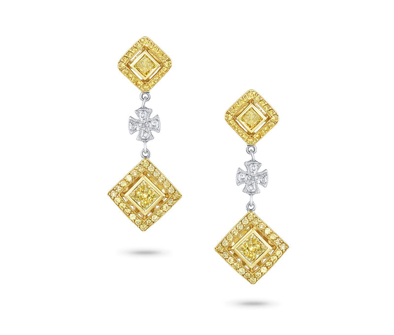 FANCY YELLOW DIAMOND MALTESE CROSS EARRINGS