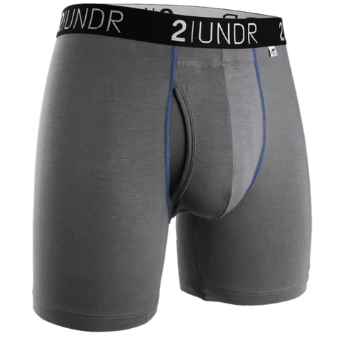 "2UNDR Swing Shift 6"" Boxer Brief - Grey/Blue"