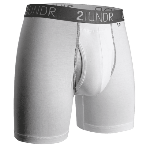 "2UNDR Swing Shift 6"" Boxer Brief - White/Grey"
