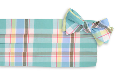 High Cotton Mint Julep Madras Cummerbund/Bow Tie Set