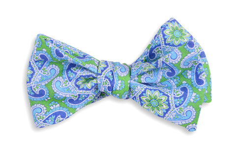High Cotton Green Derby Paisley Bow Tie