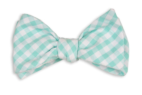High Cotton Aqua Seersucker Check Bow Tie