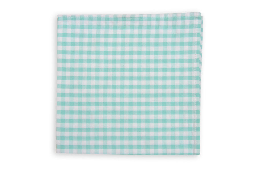 High Cotton Aqua Seersucker Check Pocket Square