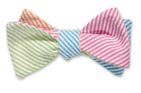 High Cotton Boater Seersucker 4-Way Bow Tie