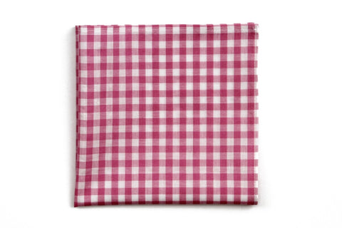 High Cotton Deep Pink Check Pocket Square