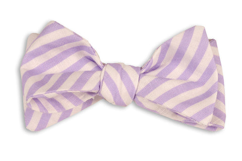 High Cotton Lavender Linen Stripe Bow Tie