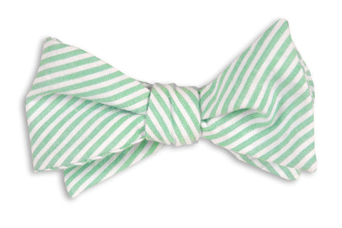 High Cotton Mint Green Seersucker Stripe Bow Tie
