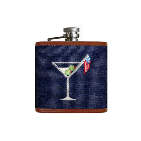 Smathers & Branson Cocktail Party Needlepoint Flask